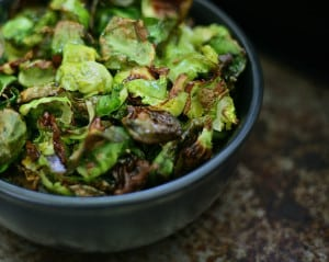 roasted brussel sprout chips in bowl