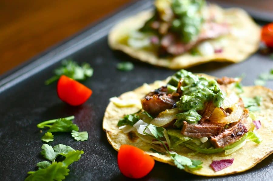 Grilled Steak Tacos with Herb Sauce | The Domestic Dietitian