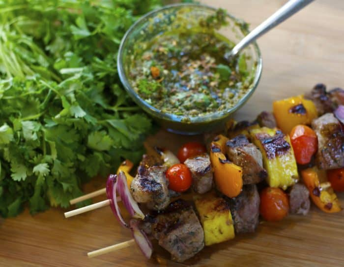 grilled steak pineapple skewers recipe