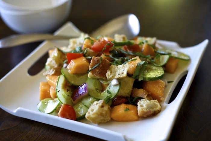 cantaloupe panzanella salad recipe from thedomesticdietitian.com
