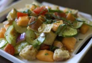 cantaloupe panzanella salad recipe / the domestic dietitian