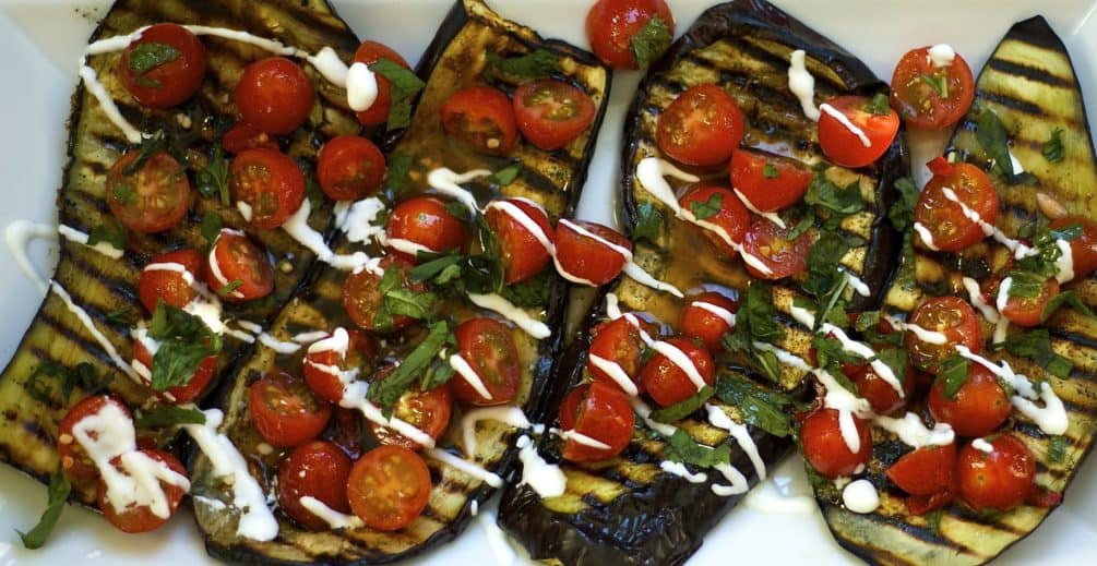 Grilled Eggplant with Fresh Tomato Salad Recipe