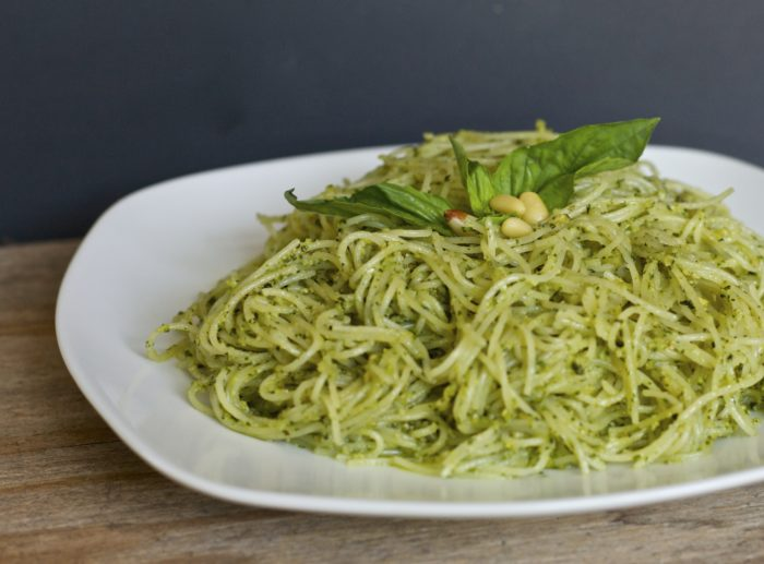Spaghetti with Basil Pesto Sauce Recipe