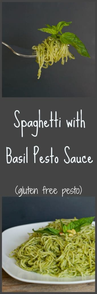 Spaghetti with Basil Pesto Sauce - gluten free pesto sauce recipe / The Domestic Dietitian