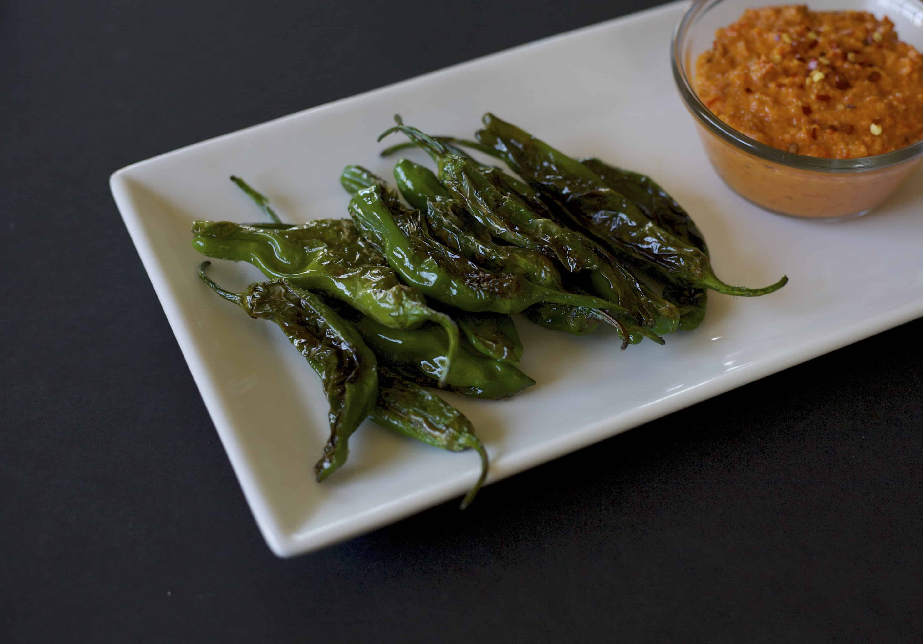 shishito peppers with spicy romesco sauce recipe1