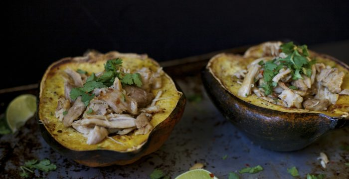 chicken carnitas with acorn squash