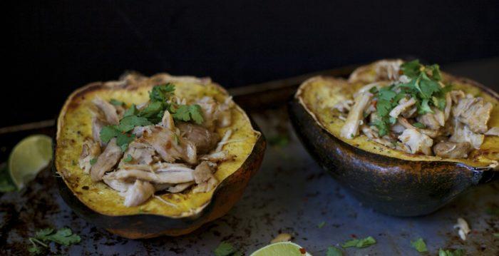chicken carnitas with acorn squash
