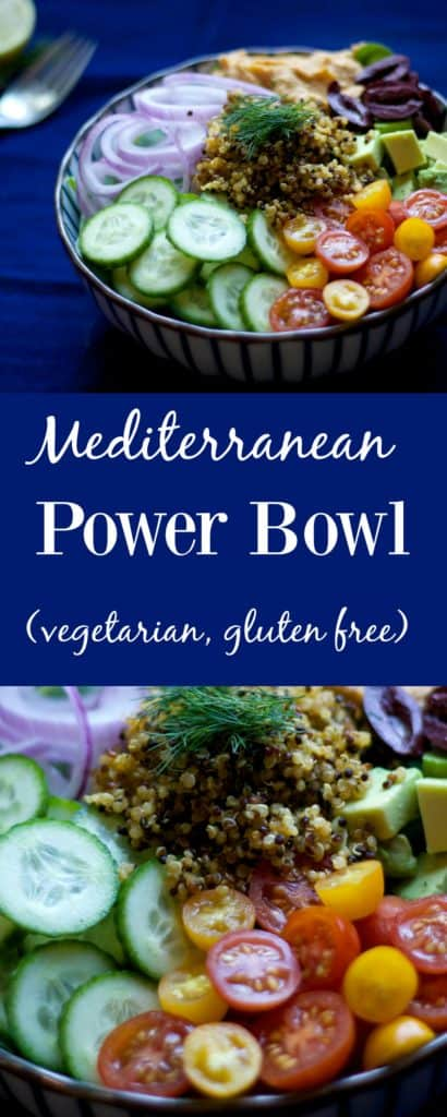 This Mediterranean Plant Protein Power Bowl is packed full of delicious flavor, protein, healthy fats, and vegetables. The perfect go-to lunch.