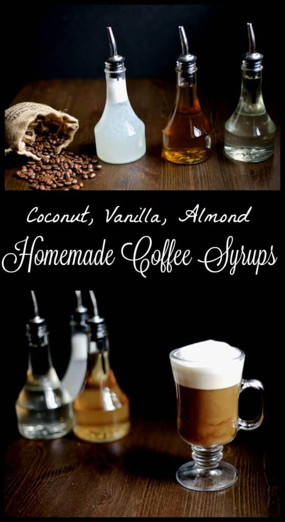 Homemade flavored coffee syrups are a healthier and easy way to jazz up your coffee without the added sugar! Vanilla, Almond and Coconut syrup recipes.