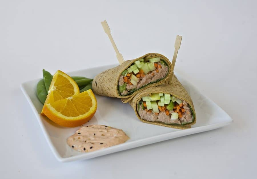 spicy tuna wrap healthy lunch idea