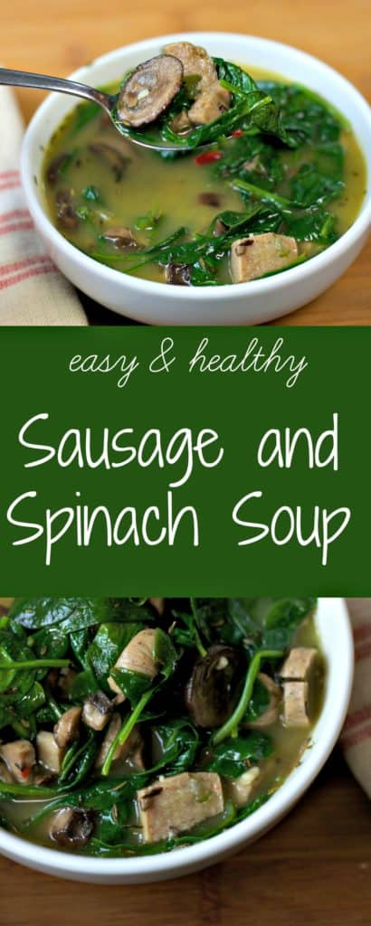 Sausage and Spinach Soup recipe - rich and filling. an easy recipe for a healthy dinner