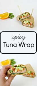 This spicy tuna wrap recipe combines tuna fish sandwiches with spicy tuna sushi rolls. A great healthy lunch idea that can be taken on the go.