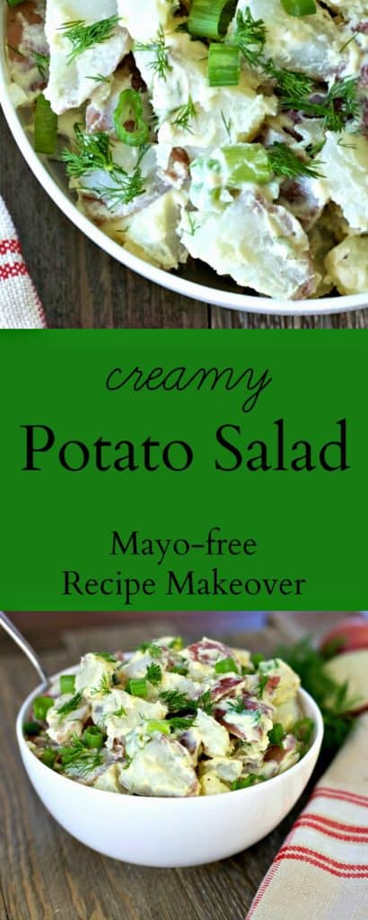 Healthier Creamy Potato Salad Recipe Makeover, mayo free / The Domestic Dietitian