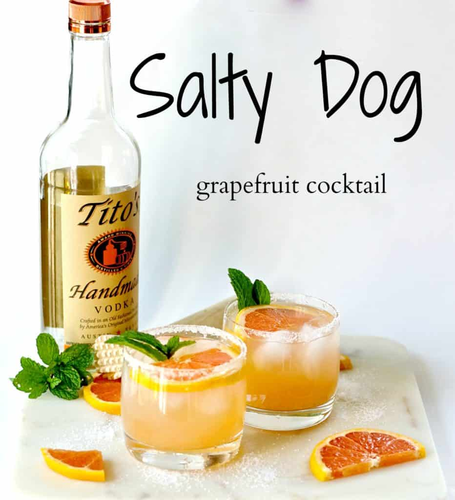 salty dog - grapefruit cocktail recipe by The Domestic Dietitian