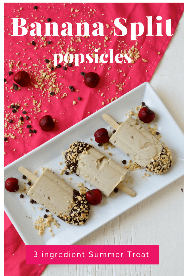 Banana Split Popsicles - Healthy Summer Treat by The Domestic Dietitian. These Banana Split Popsicles are the perfect, creamy, delicious summer treat! Made with only 3 ingredients they taste just like a decadent dessert.