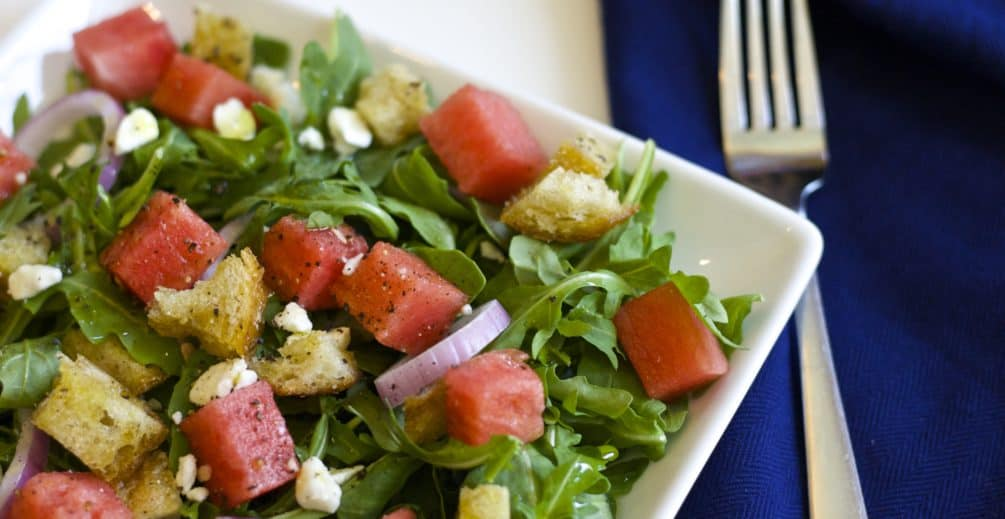 Watermelon Panzanella Salad is the perfect refreshing summer recipe. Crisp arugula combined with juicy watermelon and toasted bread for the ultimate salad.