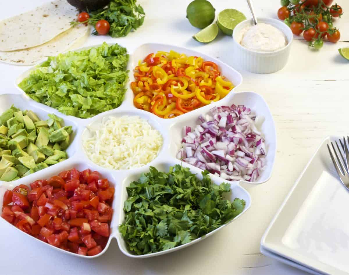 family style dinner - build your own burrito