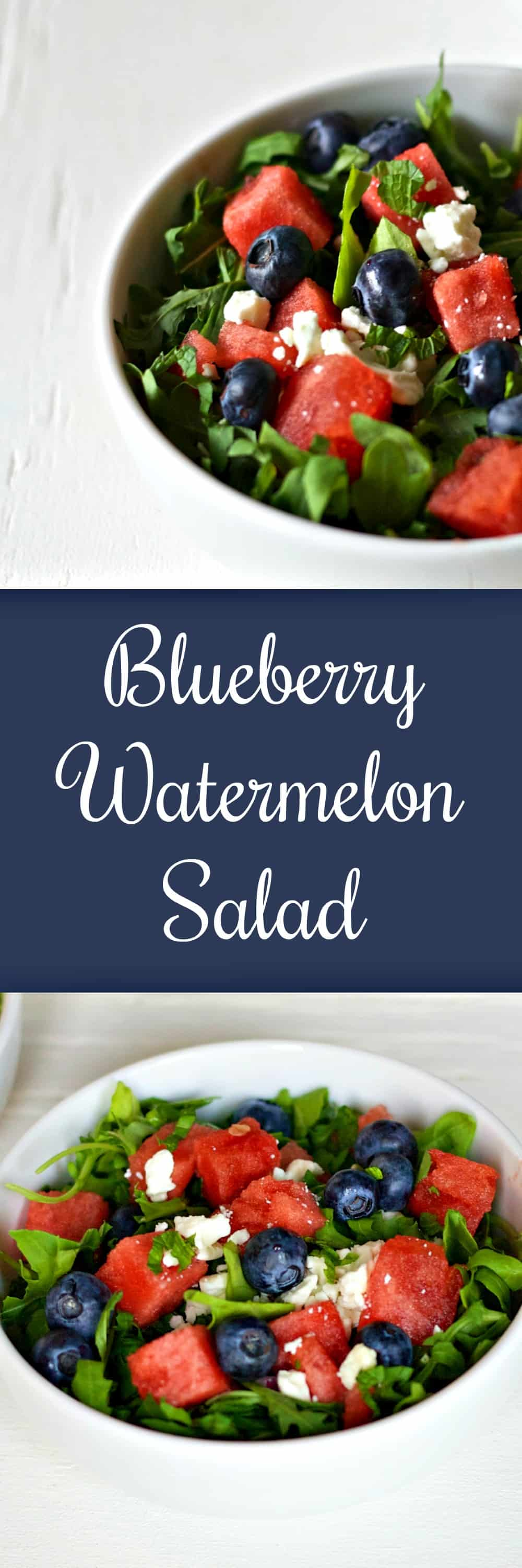 This Blueberry Watermelon Salad is the perfect summer side dish. Sweet fruits combine with peppery arugula to create a delicious and fresh salad recipe