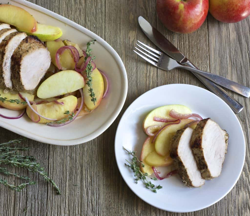 Roasted Pork with Honeycrisp Apples | The Domestic Dietitian