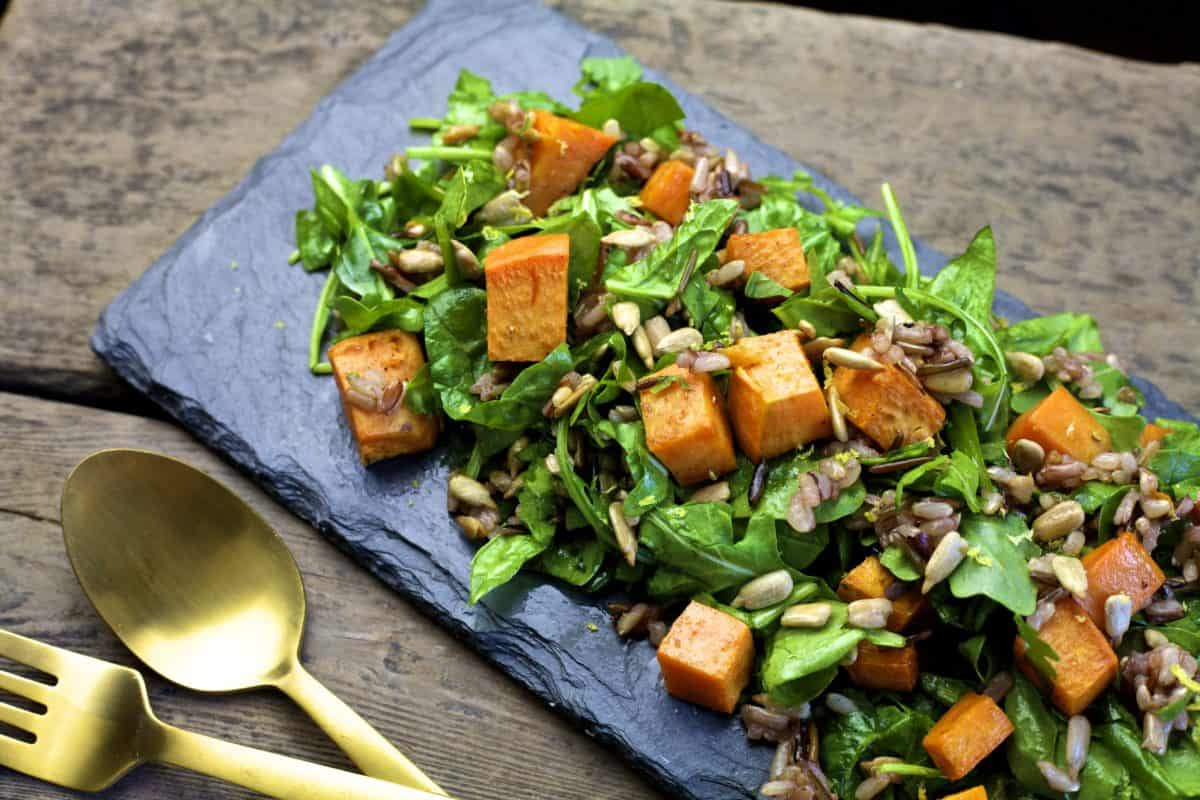 fall roasted sweet potato salad