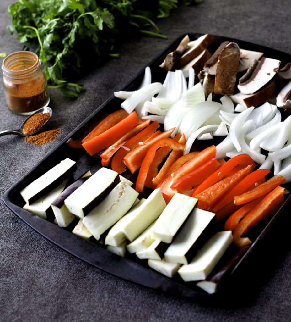 vegetable fajita sheet pan dinner1