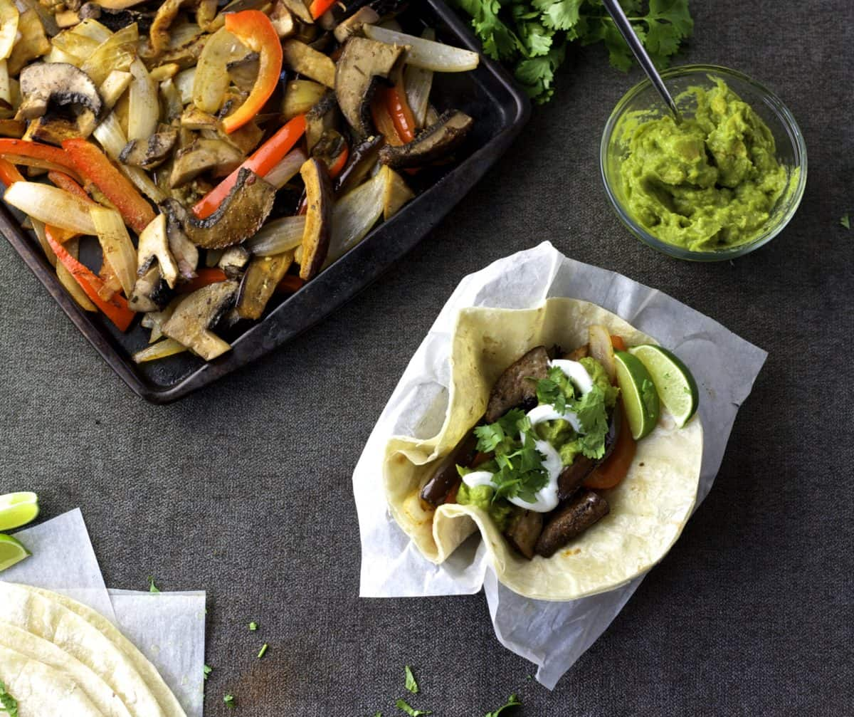 vegetable fajita sheet pan dinner