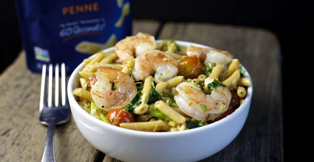 pasta with shrimp and sautéed vegetables