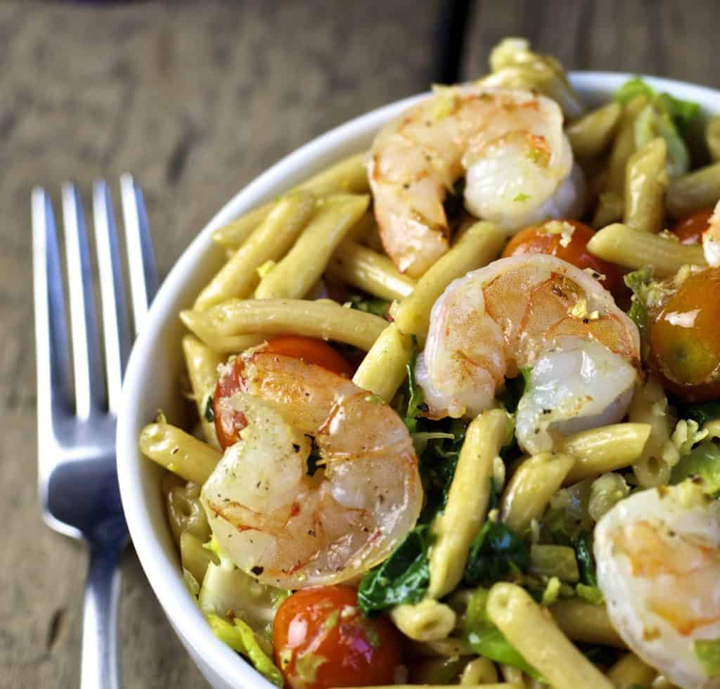 pasta with shrimp and sautéed vegetables3