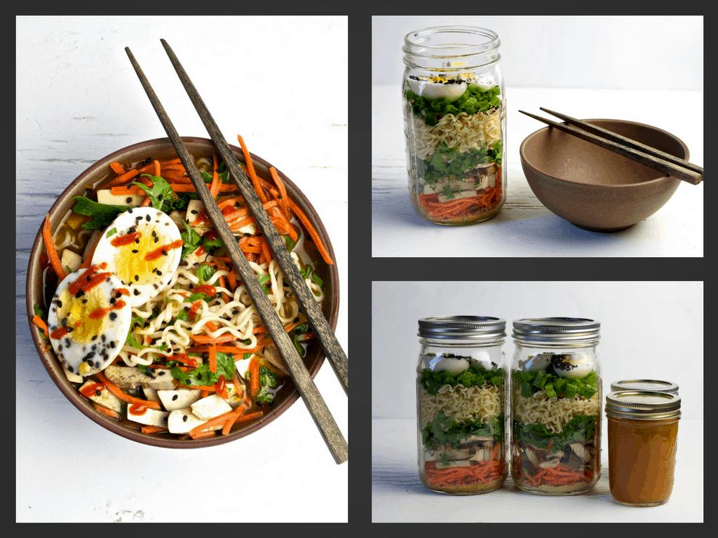 mason jar vegetarian ramen soup