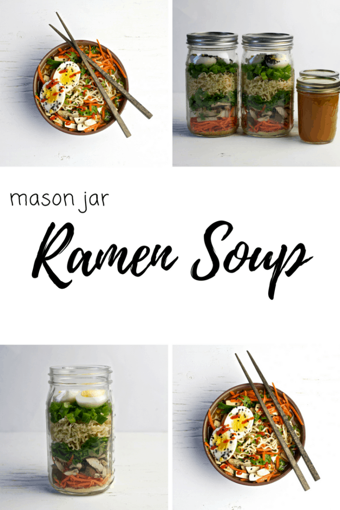 This Mason Jar Vegetarian Ramen Soup is the perfect meal on the go! Easy to meal prep and full of healthy vegetables and delicious flavors.