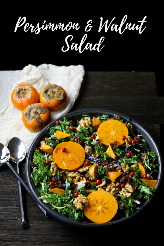 Sharing healthy persimmon recipes like this Persimmon & Walnut Salad recipe. Perfect for dinner parties, so vibrant, fresh, healthy and delicious