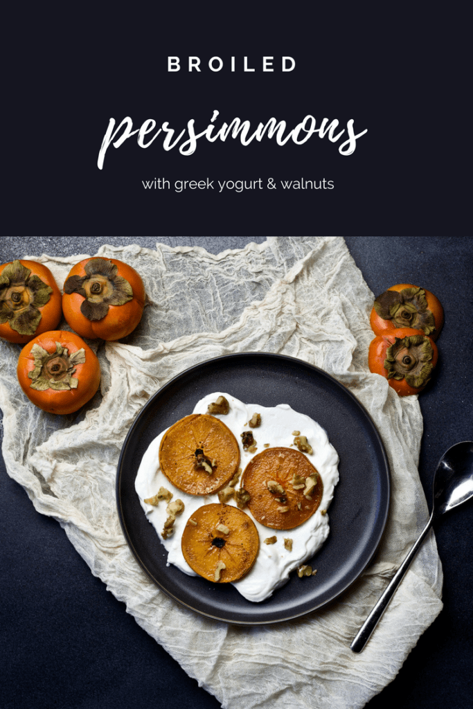 Sharing healthy persimmon recipes like this Broiled Persimmons with Toasted Walnuts and Greek yogurt recipe. Perfect for dinner parties, so vibrant, fresh, healthy and delicious