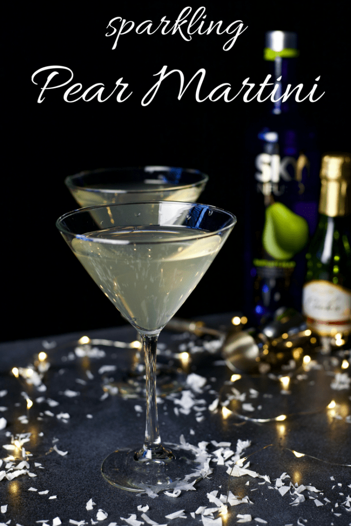 Sparkling Pear Martini - a healthy recipe on a classic cocktail featuring vodka, fresh pear puree, and champagne.