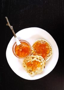 citrus marmalade on top of toasted english muffin