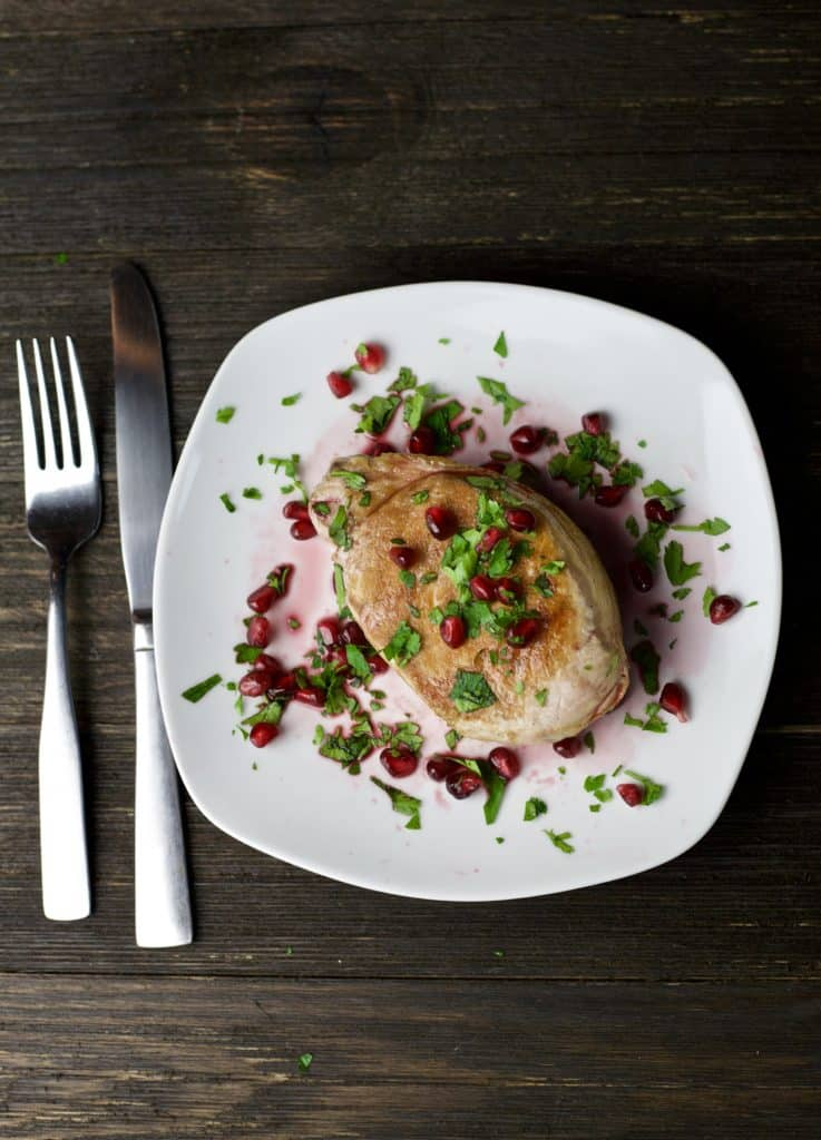 grilled pork chop with pomegranate glaze - the domestic dietitian