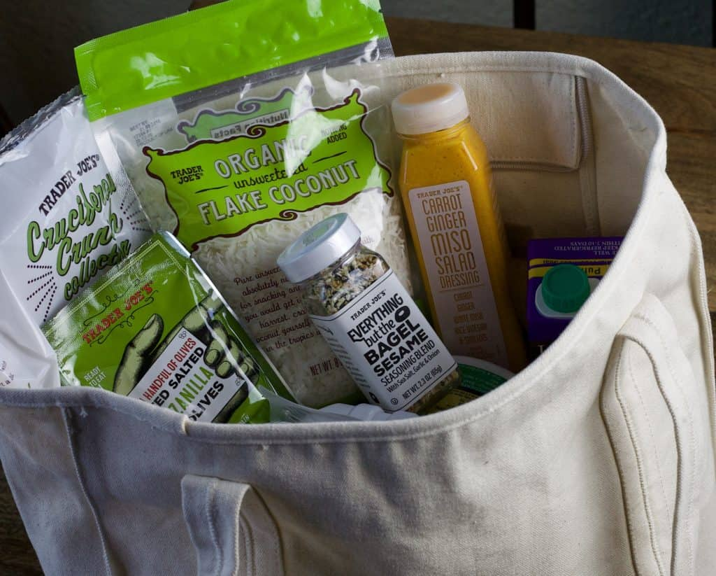 bag of dietitians top 14 items to buy at trader joe's