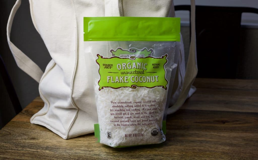 bag of unsweetened coconut from trader joes