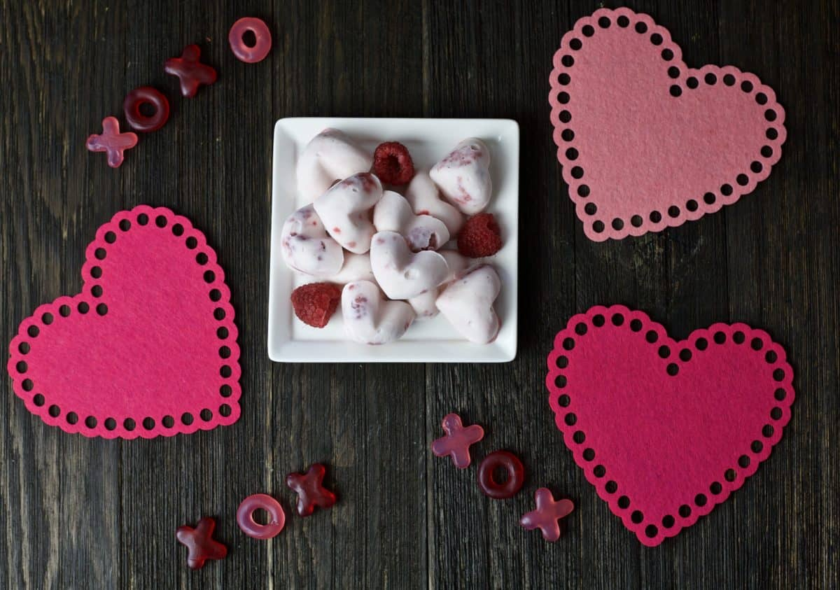 heart shaped yogurt bites