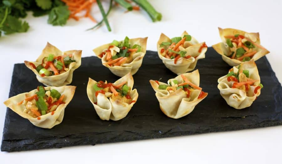 Vegetarian wonton bites an easy appetizer idea the domestic vegetarian wonton bites forumfinder Choice Image