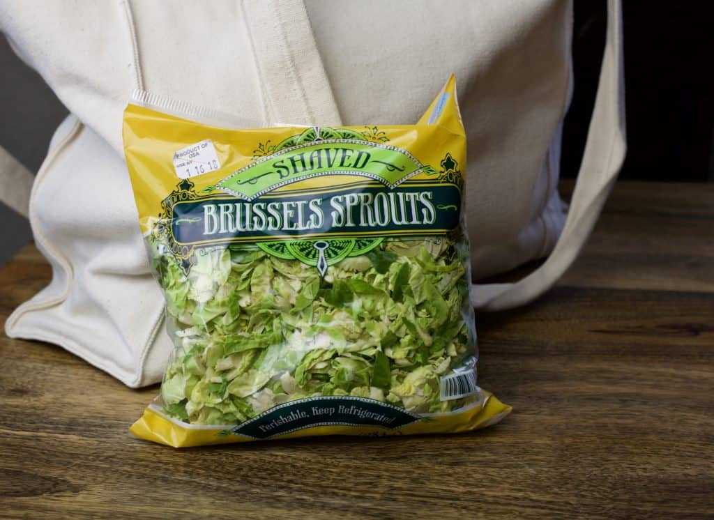 a bagged of shaved brussels sprouts from trader joes