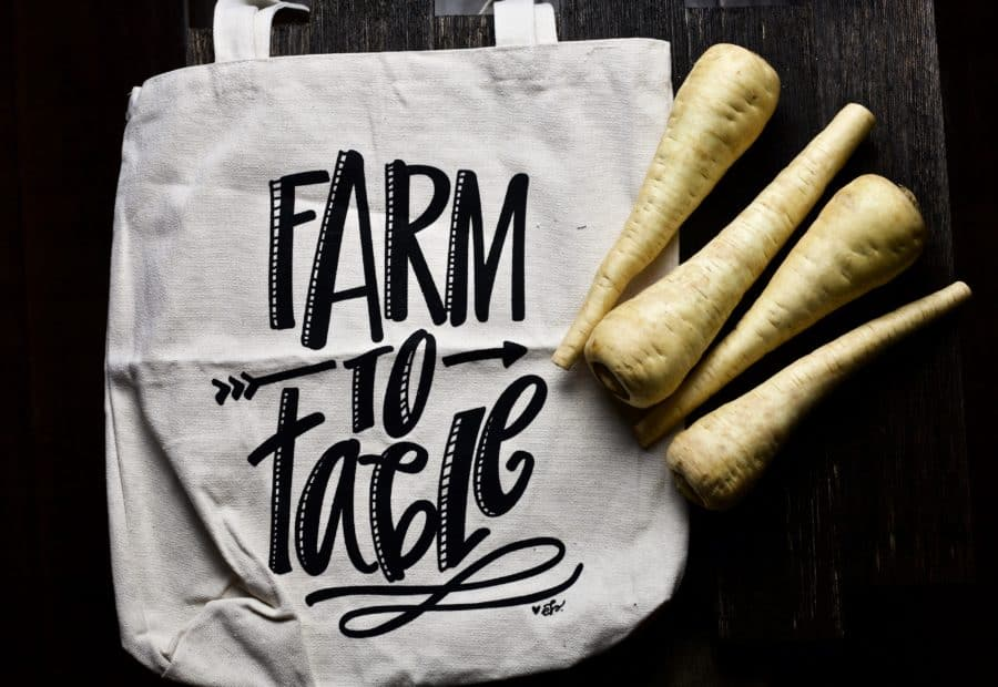 farm to table bag with parsnips