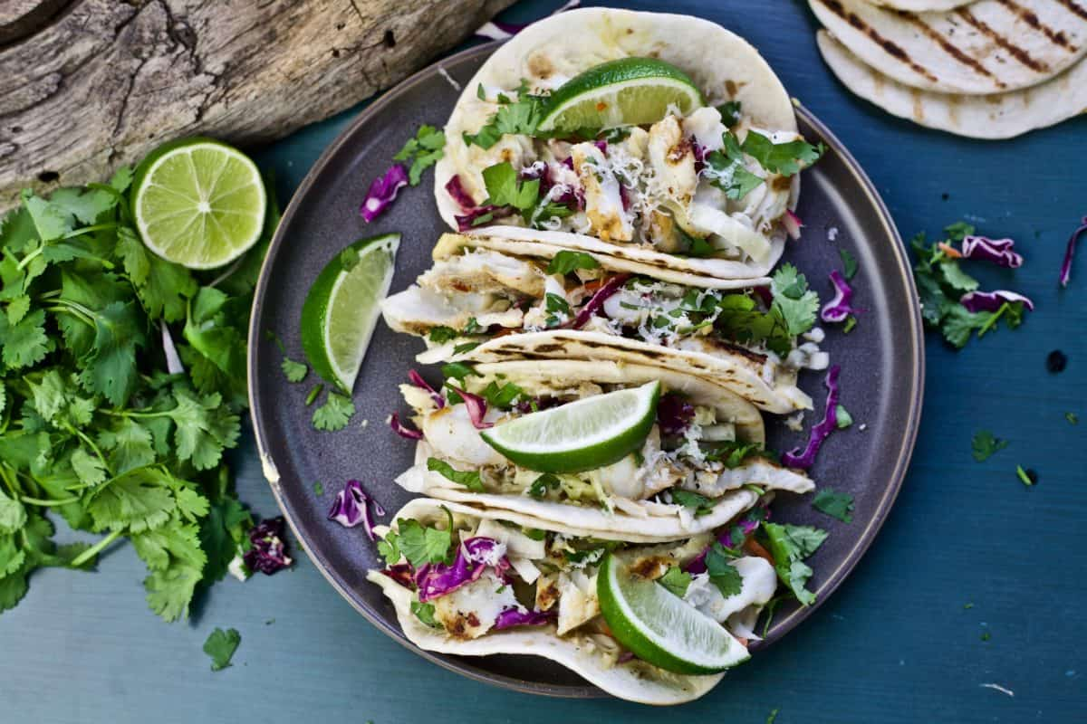 grilled fish tacos with jalapeño hummus