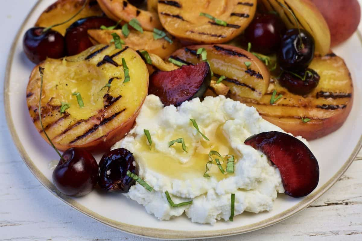 grilled stone fruits with ricotta