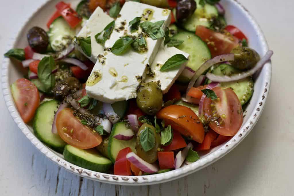 greek salad with homemade vinaigrette