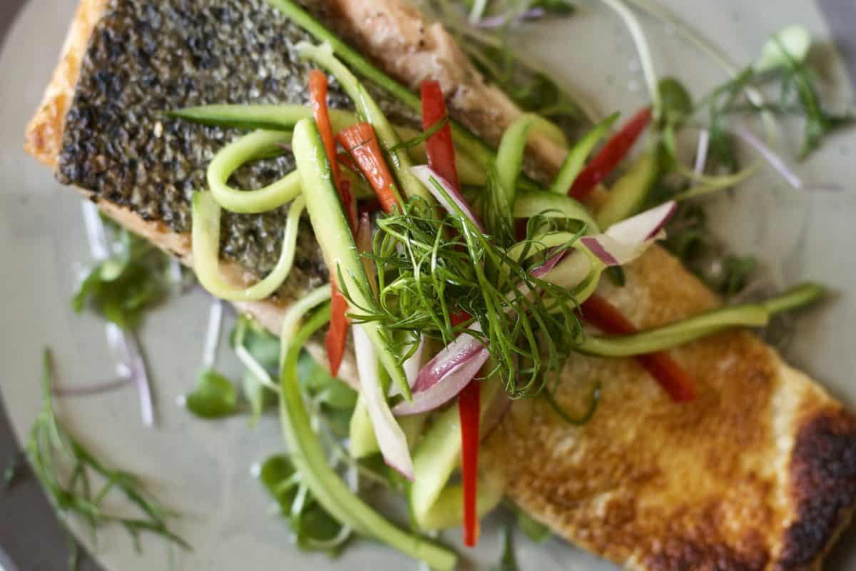 crispy salmon with pickled cucumber salad