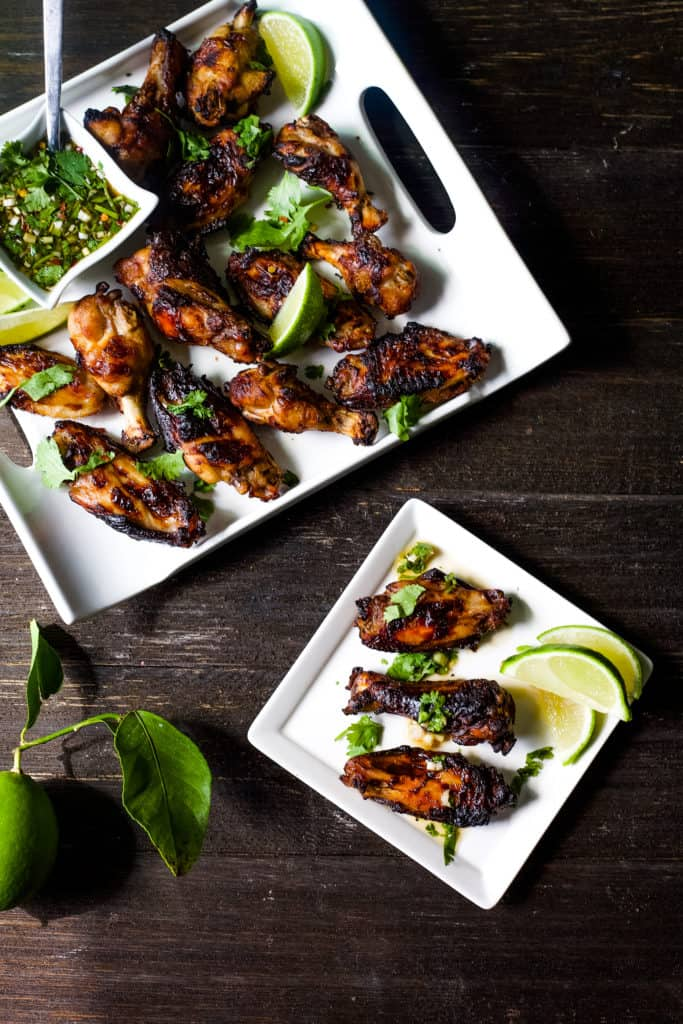sticky baked chicken wings with asian dipping sauce