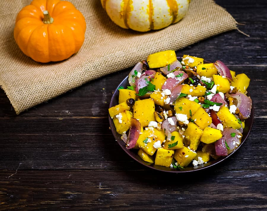 roasted pumpkin with feta and pistachios