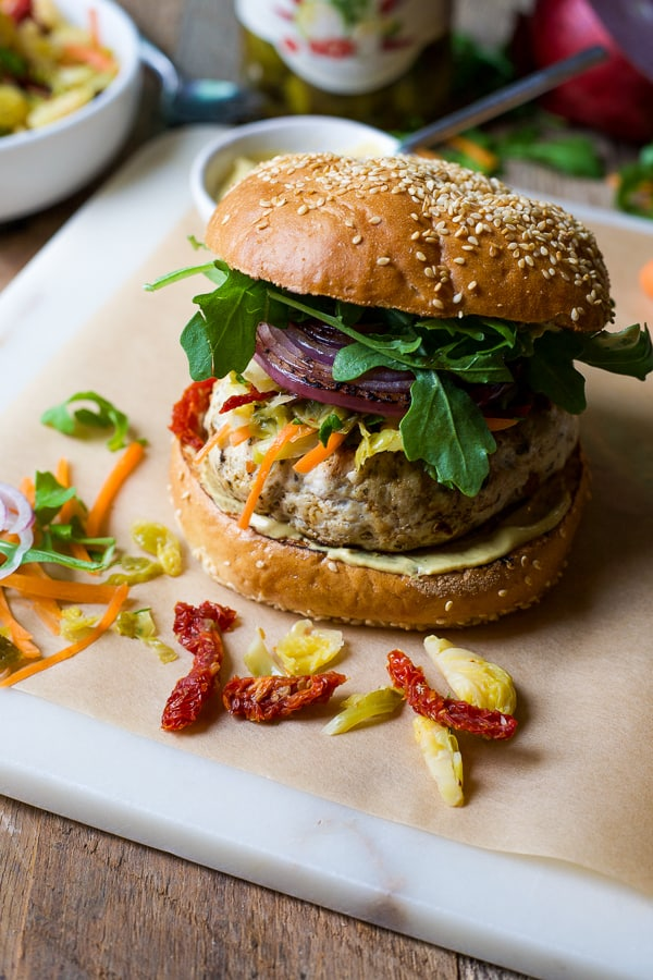ultimate turkey burger with spicy brussels sprouts coleslaw 4