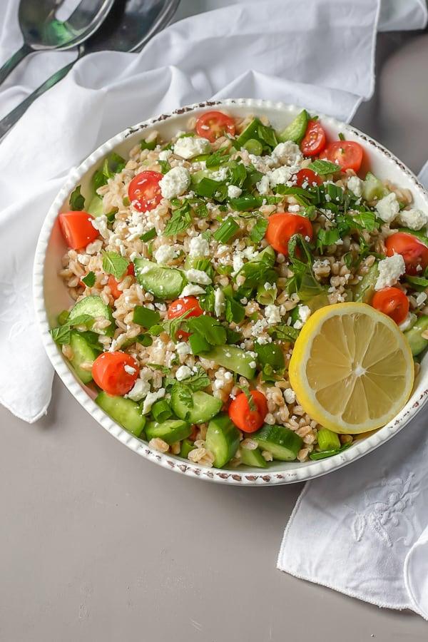 greek farro salad with lemon and fresh herbs
