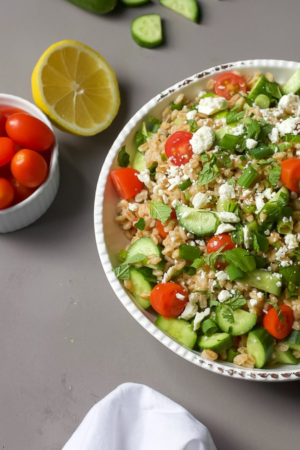greek farro salad with fresh herbs mediterranean recipe